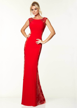 US$168.99 2015 Beading Red Black Tulle Chiffon Scoop Floor Length Sleeveless