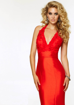 US$173.99 2015 Beading V-neck Sleeveless Red Black Satin Floor Length Mermaid