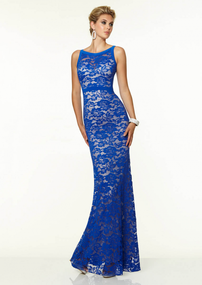 US$168.99 2015 Blue Black Scoop Sleeveless Appliques Chiffon Floor Length