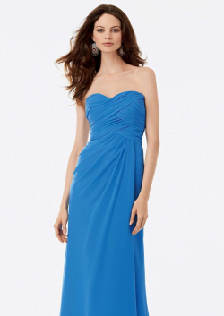 US$132.99 2015 Blue Sweetheart Sleeveless Ruched Chiffon Floor Length
