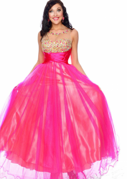 US$188.99 2015 Fuchsia Scoop Blue Sleeveless Zipper V-back Crystals Tulle Floor Length Ball Gown