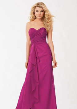 US$134.99 2015 Fuchsia Sweetheart Ruched Sleeveless Chiffon Floor Length