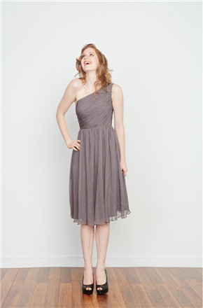 US$131.99 2016 Gray A-line Ruched Sleeveless One Shoulder Knee Length Chiffon