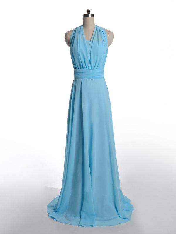 US$168.99 2015 Halter Ruched Zipper Sash Light Blue Sleeveless Sweep Train Chiffon