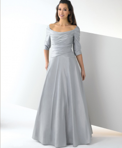 US$168.99 2015 3/4 Length Sleeves Scoop Zipper Grey Taffeta Floor Length
