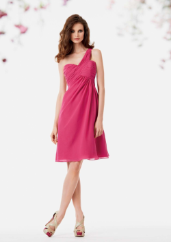 US$125.99 2015 One Shoulder Fuchsia Sleeveless Ruched Chiffon Short
