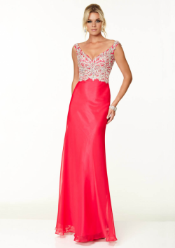 US$178.99 2015 Red Blue Appliques Crystals Open Back V-neck Floor Length Chiffon