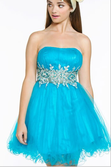 US$143.99 2016 Red Strapless Tulle Blue Zipper Ruffled Crystals Sleeveless