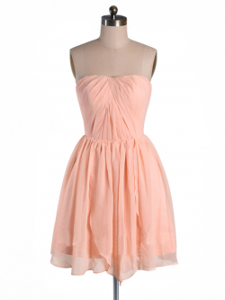 US$163.99 2015 Ruched Sleeveless Chiffon Strapless Zipper Short Length