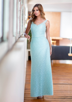 US$137.99 2015 Ruched V-neck Ankle Length Lace Blue Sleeveless