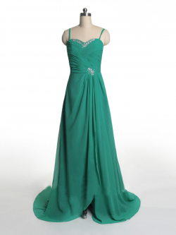 US$171.99 2015 Sleeveless Spaghetti Straps Green Ruched Zipper Chiffon Sweep