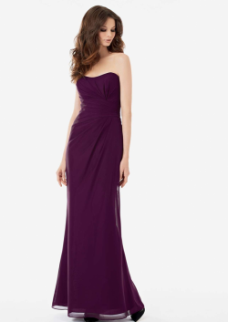 US$138.99 2015 Strapless Sleeveless Ruched Grape Chiffon Floor Length