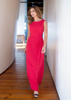 US$133.99 2015 Straps Ruched Sleeveless Red Chiffon Ankle Length