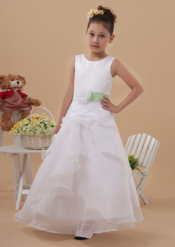 US$92.99 2015 Tulle Zipper Flower Ribbon Sleeveless White Ruched Straps Floor Length