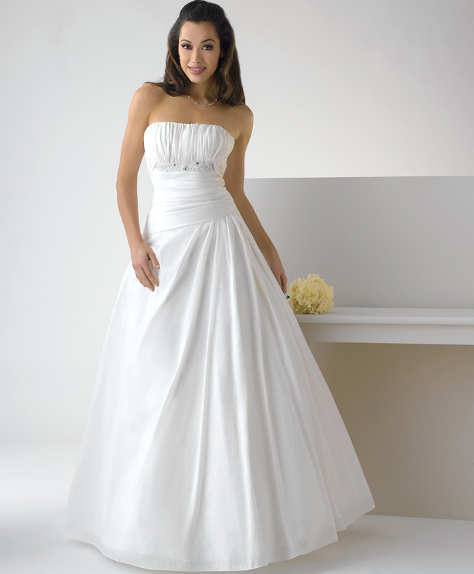 US$172.99 2015 Zipper Strapless Floor Length Satin White Ball Gown