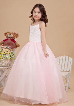 US$105.99 2015 Zipper Tulle Appliques Pink Floor Length Spaghetti Straps Sleeveless Ball Gown