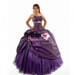 Classic purple beaded hand-made flower tulle taffeta corset new 2017 quinceanera dress VR-1604