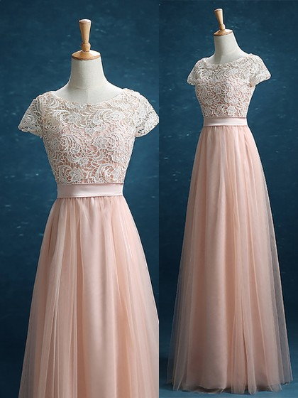Discount Scoop Neck Lace Tulle Floor-length Sashes / Ribbons Short Sleeve Bridesmaid Dress in UK
