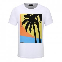 Dsquared2 Men D136 Palm Trees Short Sleeves T-Shirt White