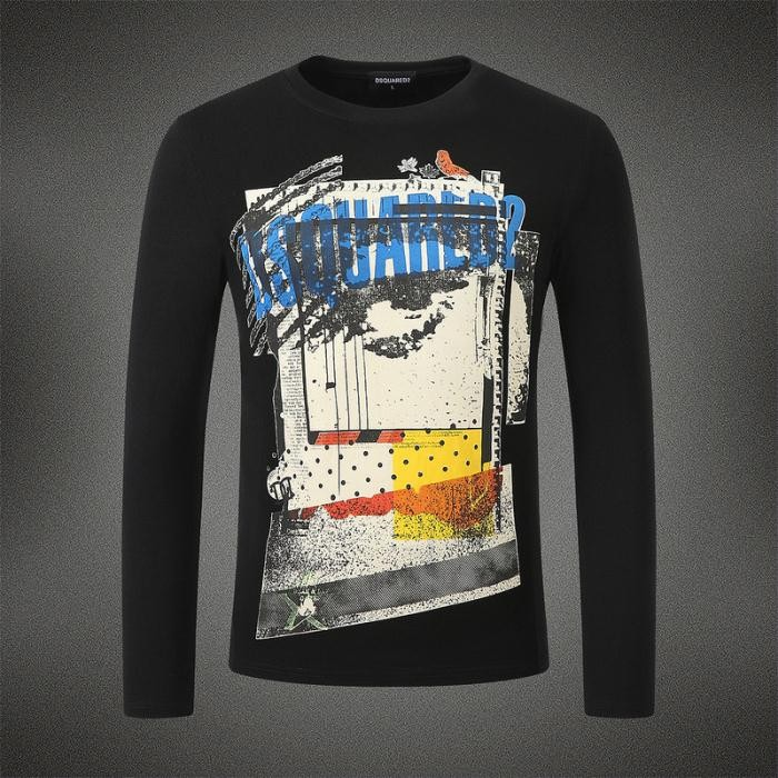 Dsquared2 Men DL04 Grafitti Print Long Sleeves T-Shirt Black