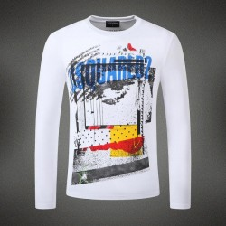 Dsquared2 Men DL04 Grafitti Print Long Sleeves T-Shirt White