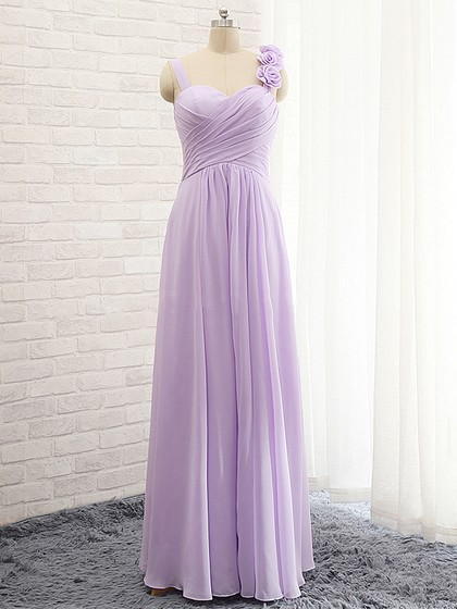 Elegant A-line Sweetheart Chiffon with Flower(s) Lavender Bridesmaid Dresses in UK