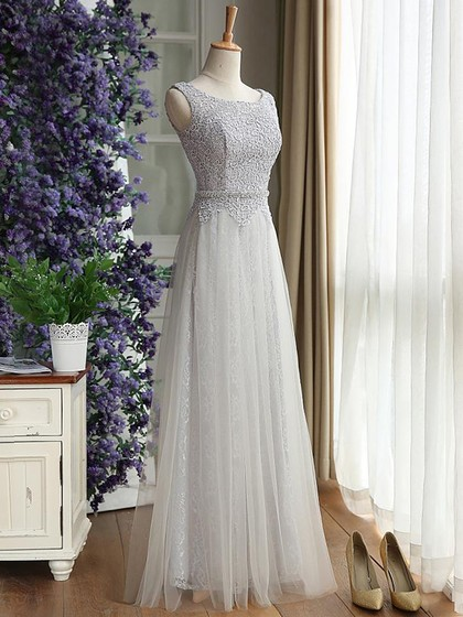 Latest Scoop Neck Lace Tulle Floor-length Ruffles Bridesmaid Dress in UK