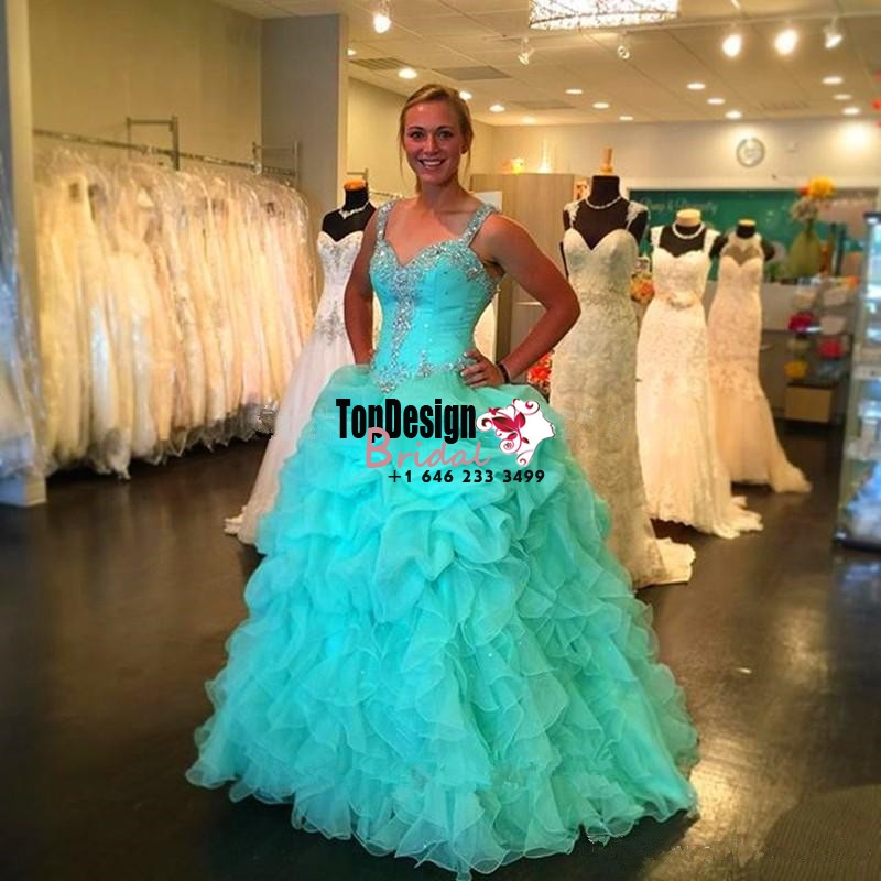 2017 Mint Blue Sweetheart Straps Ball Gown Beaded Bodice Quinceanera Dress With Pick Up Skirt Sw ...