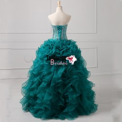 2017 New Actual Image Sweet 15 Dress Organza Ball Gown Quinceanera Dresses With Beading Crystal  ...