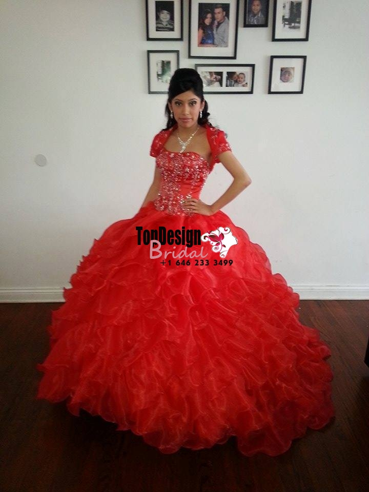 2017 New Applique Beading Sweet 15 Ball Gown Red Satin Tulle Prom Dress Gown Vestidos De 15 Anos