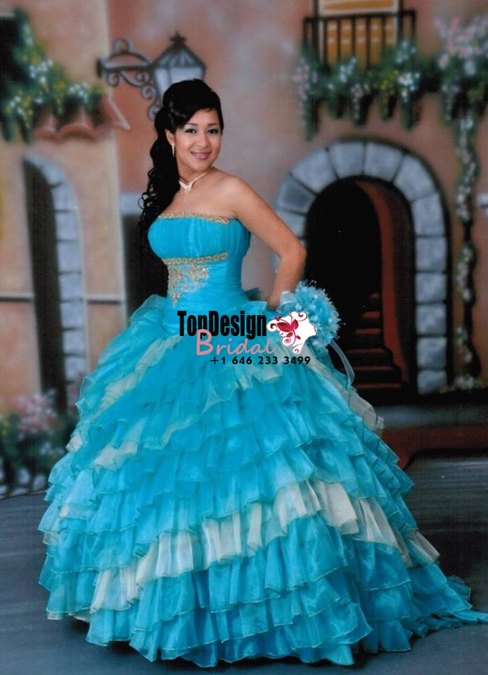 2017 New Applique Sweet 15 Dress Turquoise and Ivory Vestidos De Fiesta Satin Organza Quinceaner ...