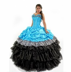2017 new aqua and black zebra print pick up puffy lace up sweet 15 quinceanera dress