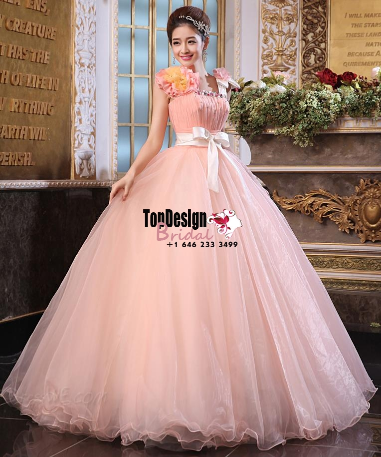 2017 New Beaded Flower Sweet 15 Ball Gown Peach Satin Tulle Prom Dress Gown Vestidos De 15 Anos  ...