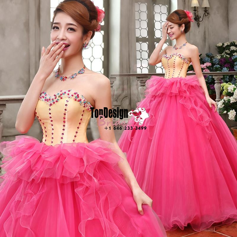 2017 New Beaded Pearls Sweet 15 Ball Gown Fuchsia and Gold Satin Organza Prom Dress Gown Vestido ...