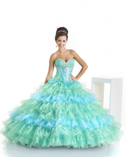 2017 New Beaded Sweet 15 Ball Gown Blue and Mint Satin Organza Prom Dress Gown Vestidos De 15 Anos