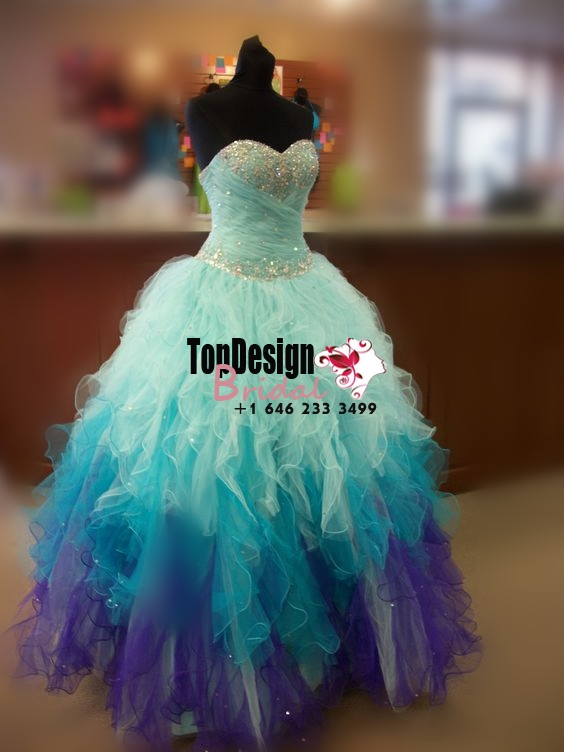2017 New Beaded Sweet 15 Ball Gown Blue and Purple Satin Tulle Prom Dress Gown Vestidos De 15 Anos