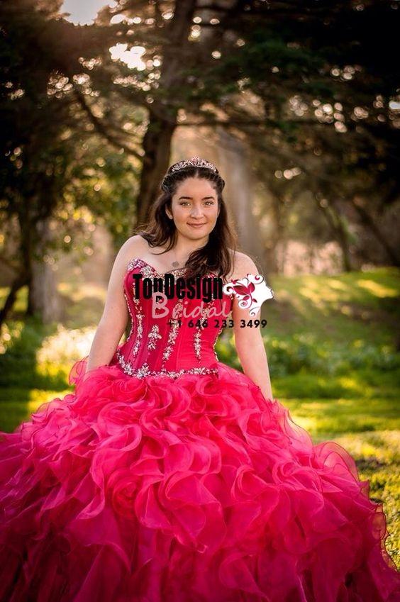2017 New Beaded Sweet 15 Ball Gown Hot Pink Satin Organza Prom Dress Gown Vestidos De 15 Anos