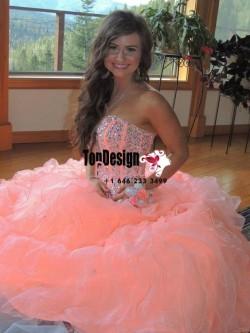 2017 New Beaded Sweet 15 Ball Gown Peach Satin Organza Prom Dress Gown Vestidos De 15 Anos