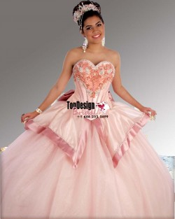 2017 New Beaded Sweet 15 Ball Gown Pearl Pink Satin Tulle Prom Dress Gown Vestidos De 15 Anos