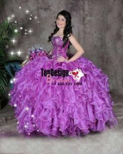 2017 New Beaded Sweet 15 Ball Gown Purple Satin Organza Prom Dress Gown Vestidos De 15 Anos