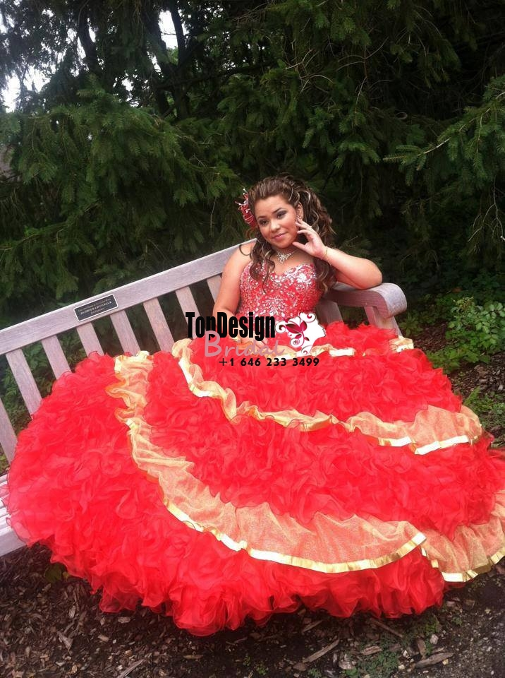 2017 New Beaded Sweet 15 Ball Gown Red and Gold Satin Organza Prom Dress Gown Vestidos De 15 Anos