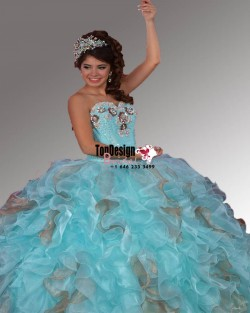 2017 New Beaded Sweet 15 Ball Gown Tiffany Blue and Gold Satin Organza Prom Dress Gown Vestidos  ...