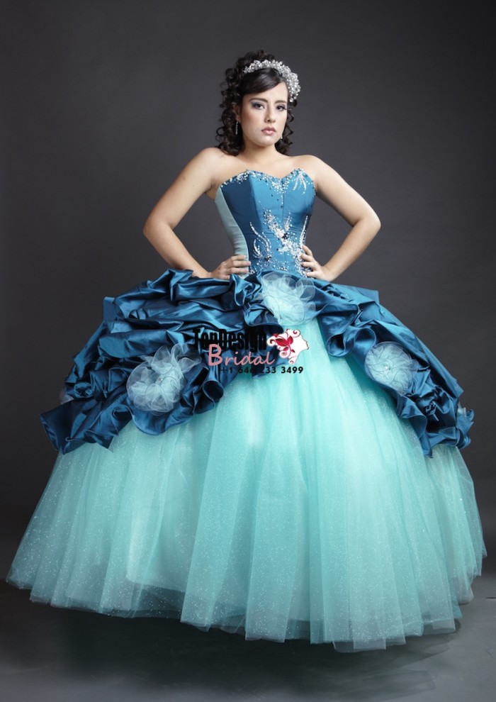 2017 New Beaded Sweet 15 Ball Gown Tiffany Blue and Peacock Blue Satin Organza Prom Dress Gown V ...