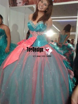 2017 New Beaded Sweet 15 Ball Gown Turquoise and Coral Satin Tulle Prom Dress Gown Vestidos De 1 ...