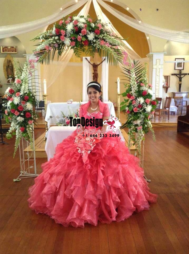 2017 New Beaded Sweet 15 Ball Gown Watermelone Satin Organza Prom Dress Gown Vestidos De 15 Anos