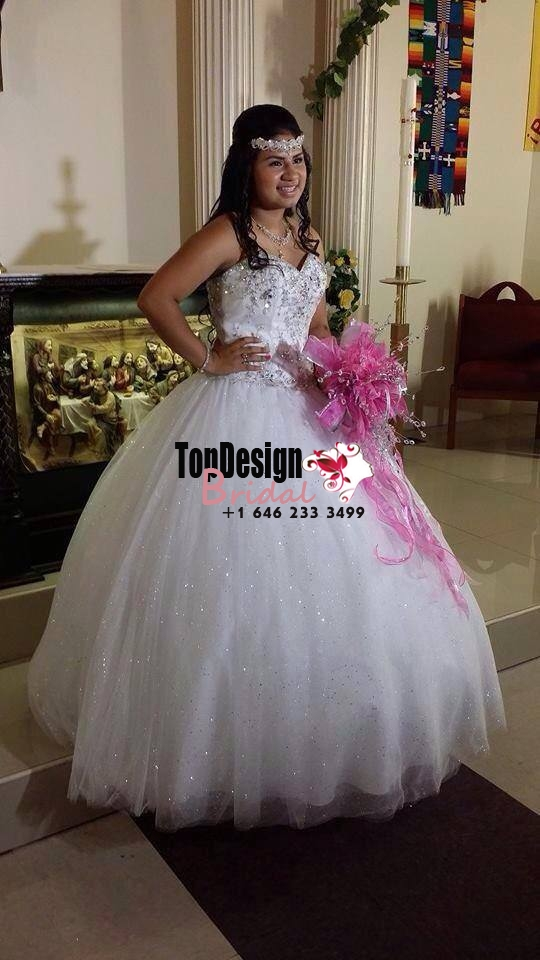 2017 New Beaded Sweet 15 Ball Gown White Satin Tulle Prom Dress Gown Vestidos De 15 Anos