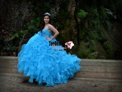 2017 New Beaded Sweet 15 Dress Aqua Blue Vestidos De Fiesta Satin Organza Quinceanera Ball Gown