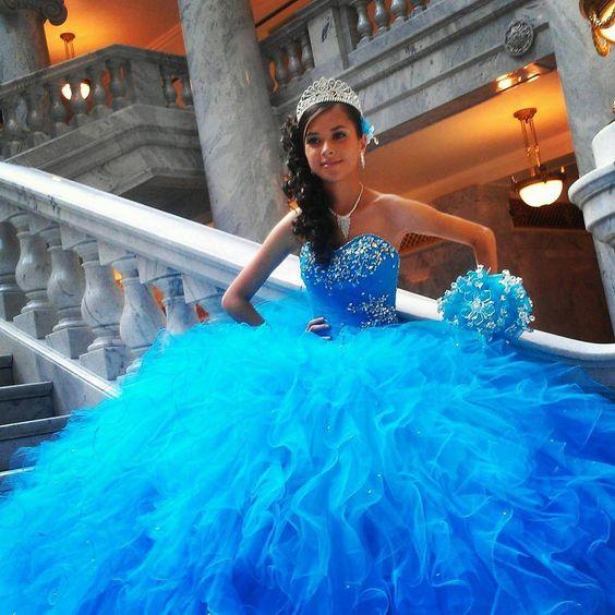 2017 New Beaded Sweet 15 Dress Blue Vestidos De Fiesta Taffeta Tulle Quinceanera Ball Gown
