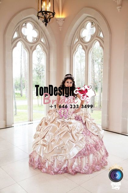 2017 New Beaded Sweet 15 Dress Champagne and Pink Embroidery Vestidos De Fiesta Satin Quinceaner ...