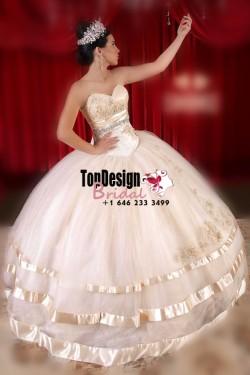 2017 New Beaded Sweet 15 Dress Champagne Vestidos De Fiesta Taffeta Tulle Quinceanera Ball Gown